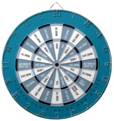 Fun Word Dart Board Drinking Game Blue