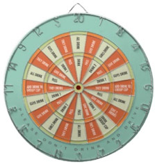Fun Word Dart Board Drinking Game Aqua and Orange