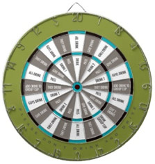 Fun Word Dart Board Drinking Game Green, Gray and Aqua