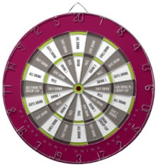 Fun Word Dart Board Drinking Game Maroon, Gray and Green