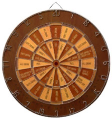 Fun Word Dart Board Drinking Game Faux Inlaid Wood