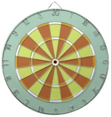 Colorful Dart Board in Aqua Orange Green