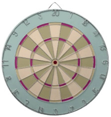 Muted Dart Board in Cool Blue, Green with pop of magenta