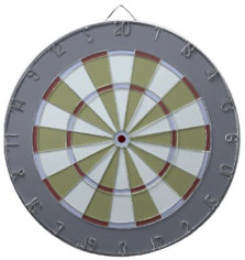 Muted Dart Board in Gray Green Maroon