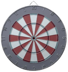 Muted Dart Board in Maroon Green Gray